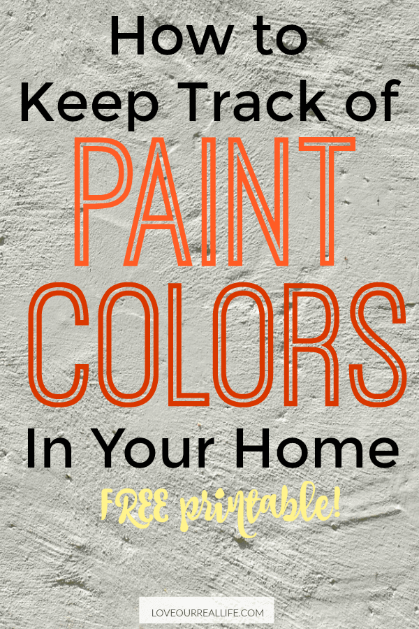 "Textured background with wording ""Keep track of paint colors in your home free printable"""