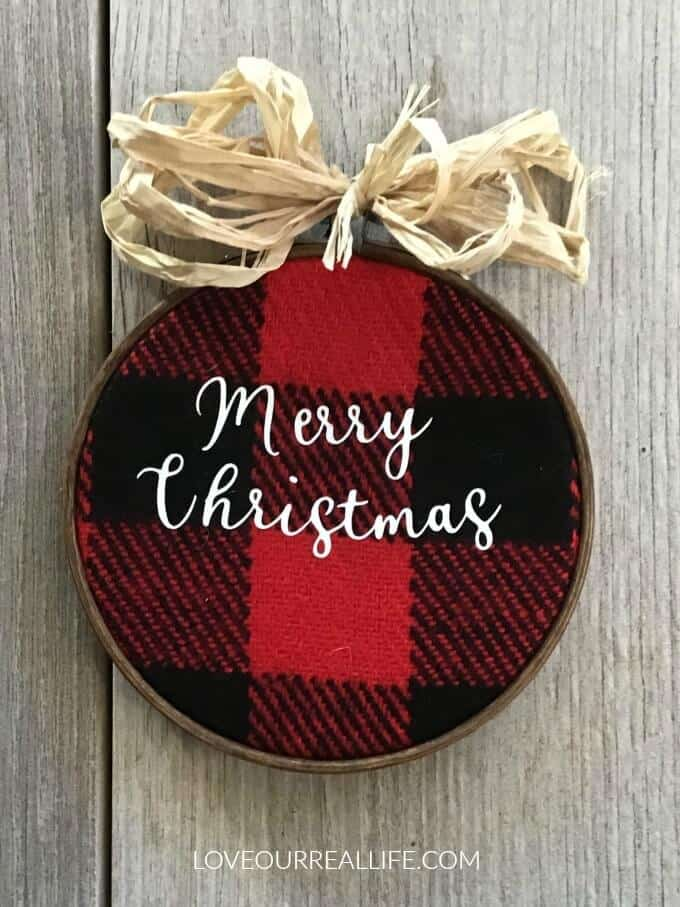 "Buffalo plaid ornament that says ""Merry Christmas"""