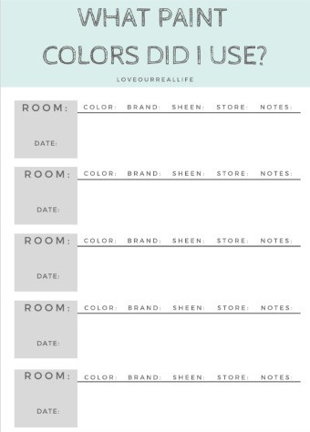 """what paint colors did I use"" printable tracking sheet"