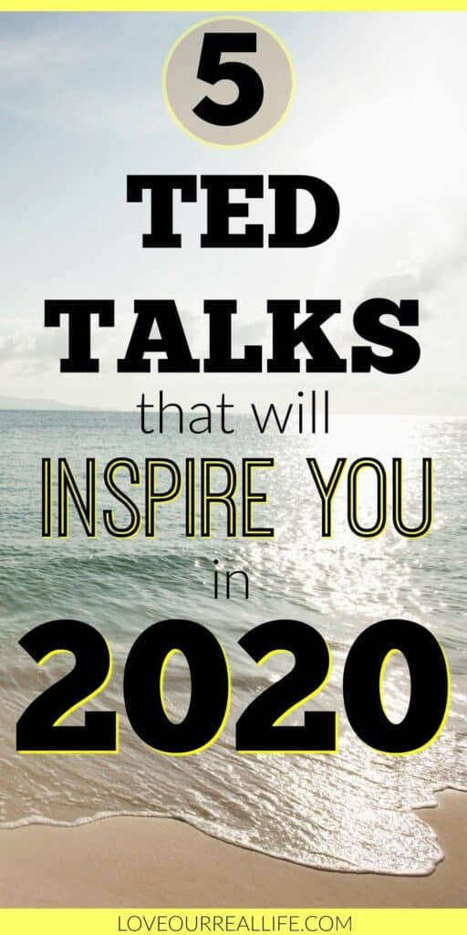 Inspirational photo of beach with text overlay about inspiring TED Talks