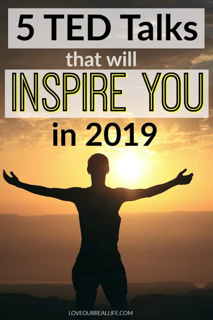 "Woman standing with arms spread facing sun with words ""5 TED Talks that will inspire you in 2019"" writing in overlay."