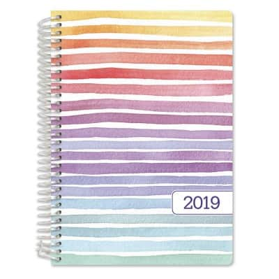 Hardcover 2019 Planner in pastel stripes