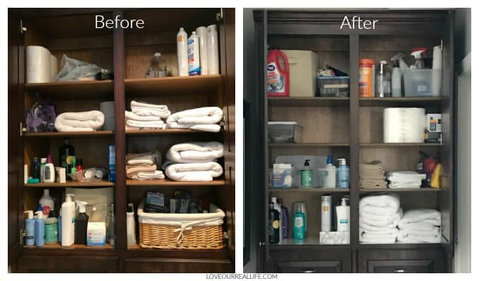Shelving and storage before and after organization project.