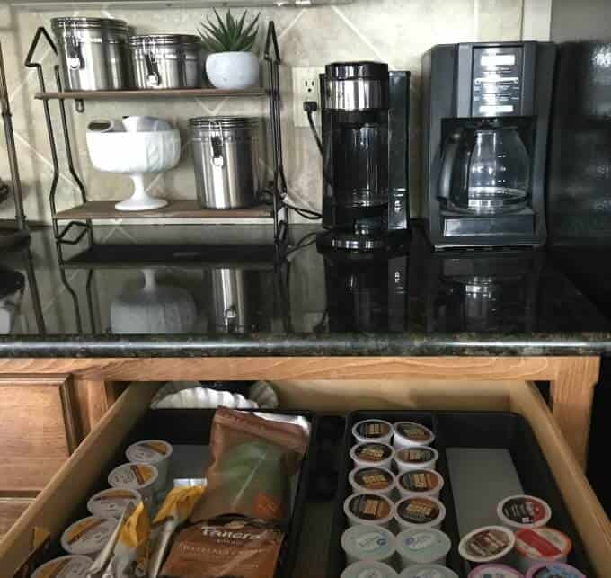 Coffee station organization plan; efficient kitchen organization ideas.