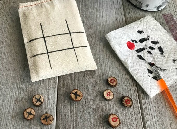 Chalk paint and acrylic paint used for the tic tac toe bag