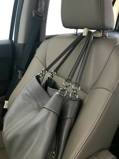 Car seat head rest hook: ideas for car organization.