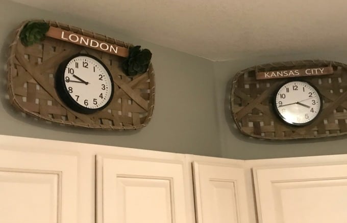 Clocks in tobacco baskets for wall decor ideas.