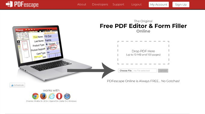 PDFescape: PDF editor and form filler