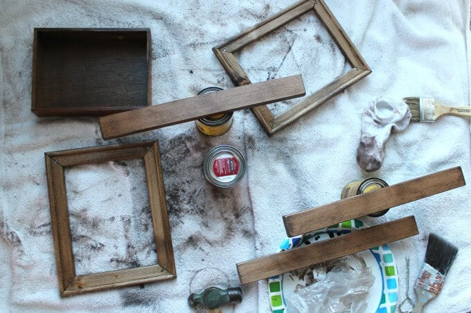 Staining wood for DIY wall decor; 3 clocks display