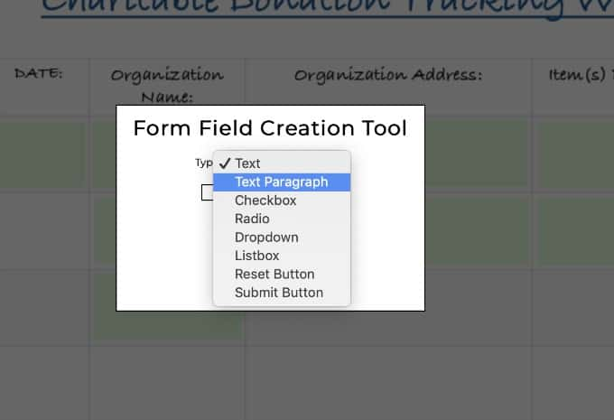 "Select ""text paragraph"" in PDFescape to make box fillable"
