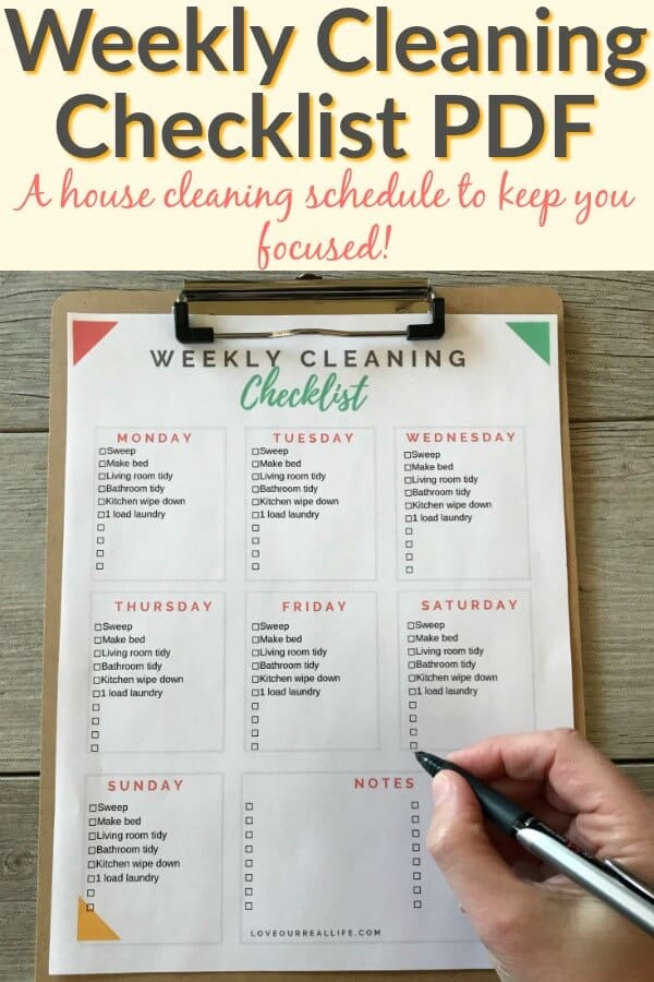 Weekly house cleaning checklist PDF