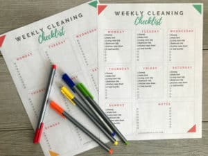 Weekly cleaning checklist (filled tasks assigned each day as well as blank checklist).