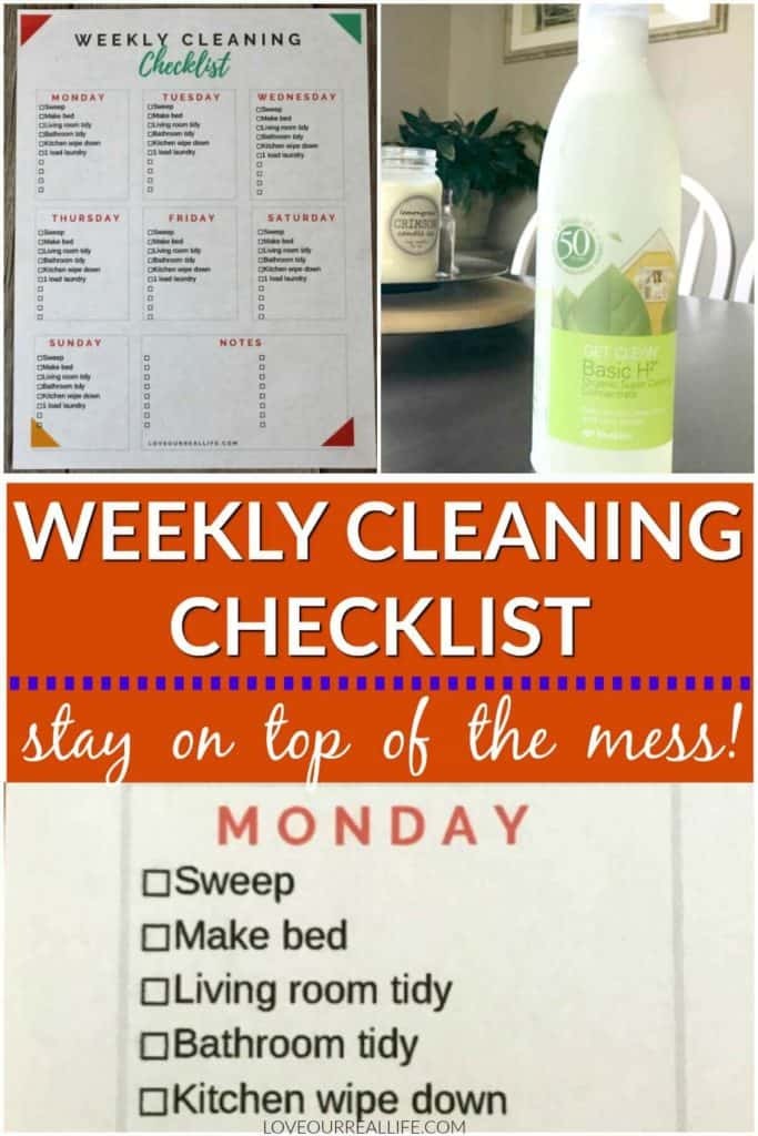 Weekly cleaning checklist stay on top of the mess