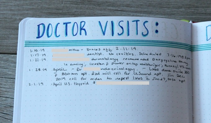 Tracking doctor visits in planner