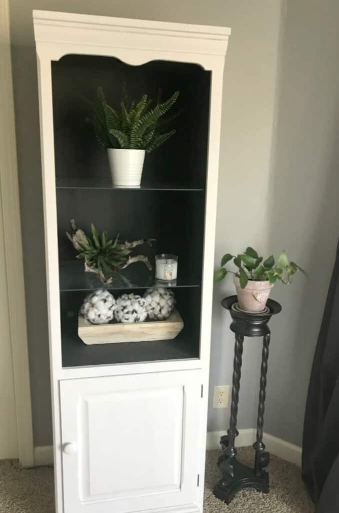 Painting entertainment center towers with white and gray Kilz Chalk paint