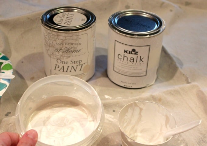 Mixing Amy Howard One Step Paint in Linen with Kilz Chalk Style Paint white