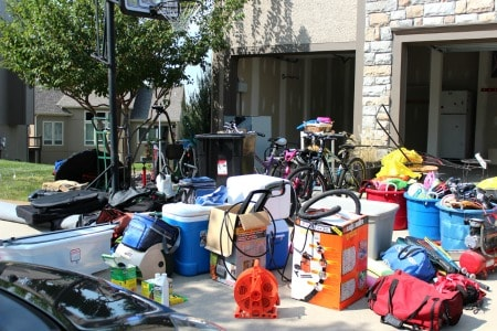 Purging junk from garage for better home organization.