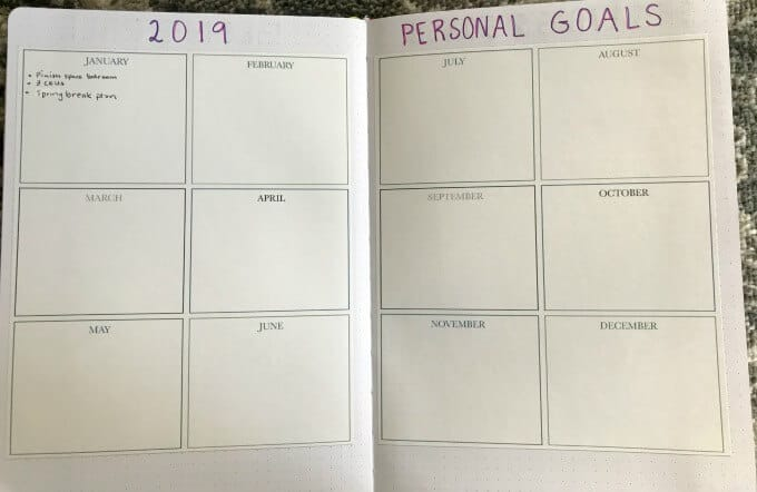 Tracking goals in Passion Planner using printed months on adhesive labels.