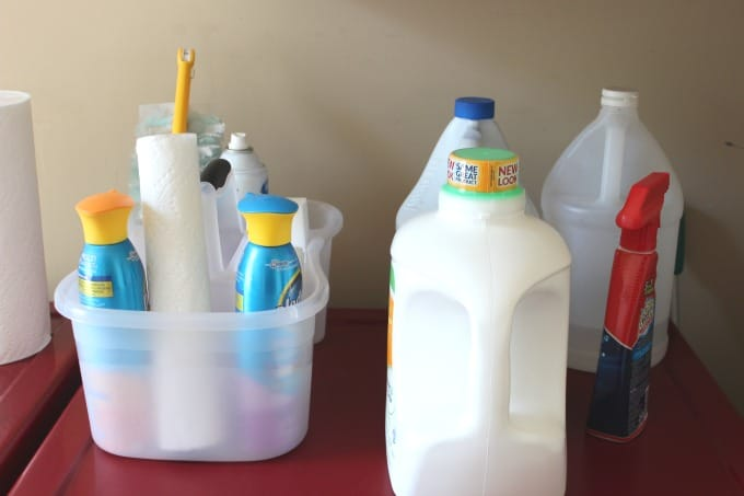 Keep a cleaning caddy in the laundry room for easy access when cleaning.