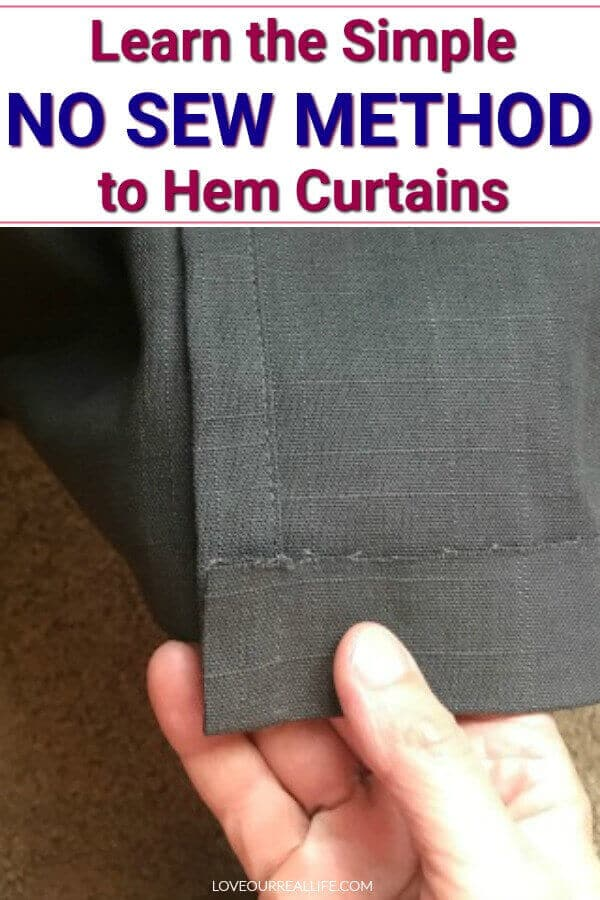 Learn the simple no sew method to hem curtains