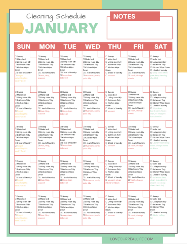 January monthly cleaning schedule
