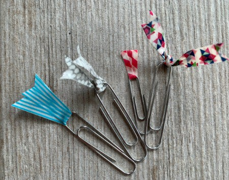 paper clips with washi tape flags