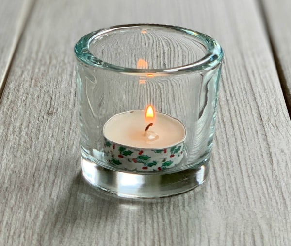 tea light candle with washi tape