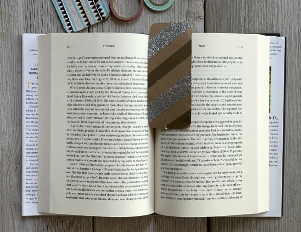 Washi tape bookmark in metallic silver.