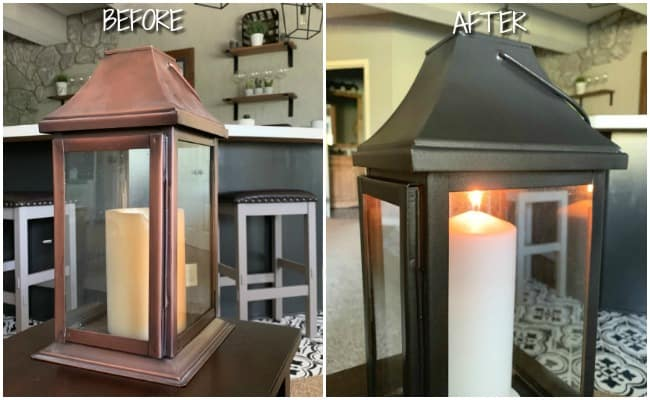 Before and after painted lantern