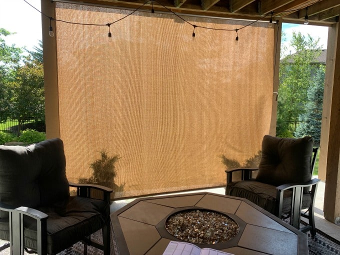 Exterior / outdoor shade blocking west facing sun on a patio