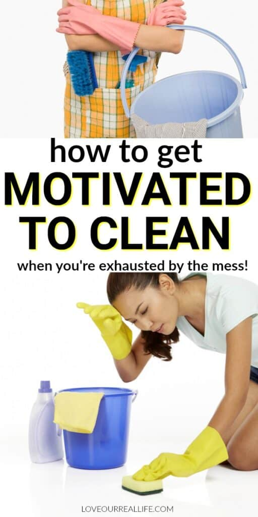 Woman exhausted by cleaning house