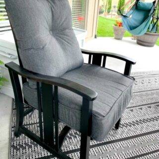 Spray painting outdoor furniture for covered outdoor spaces