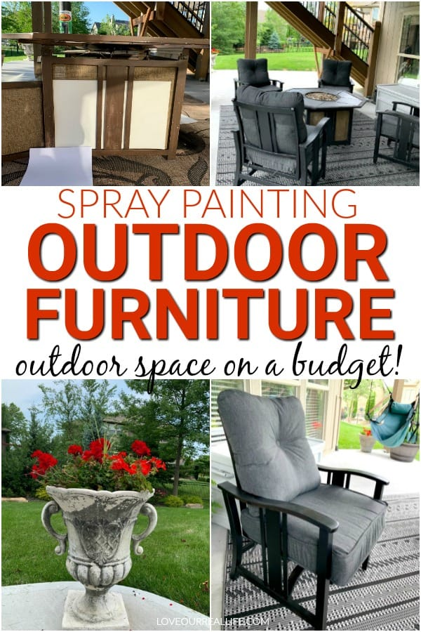spray painting outdoor furniture: outdoor space on a budget