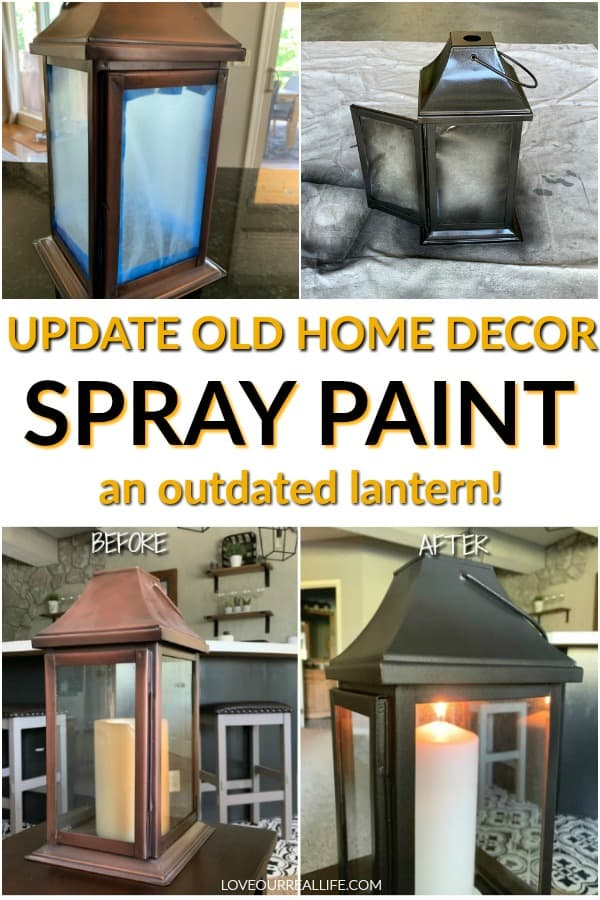 Update old home decor - spray paint on outdated lantern.