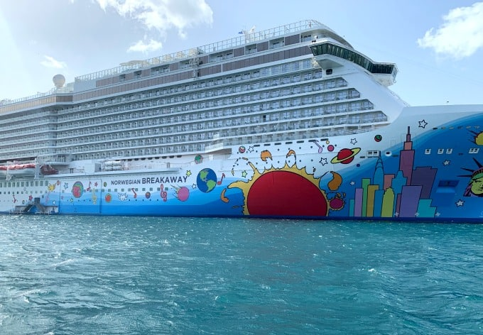 Norwegian Breakaway cruise ship in Caribbean waters.