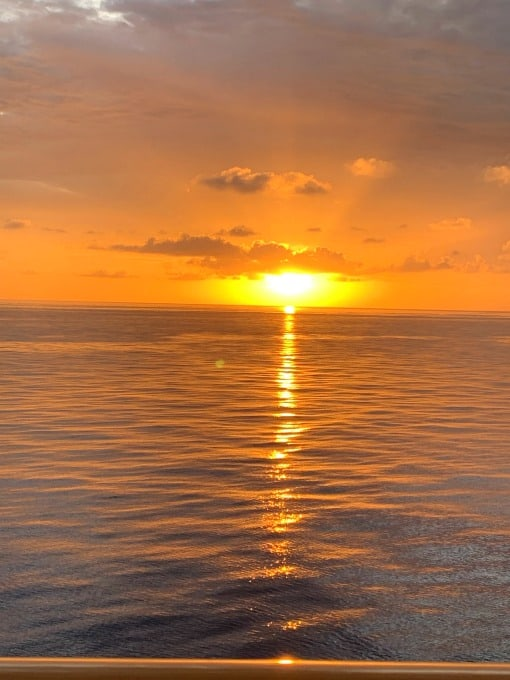 Sunset on cruise ship in Western Caribbean