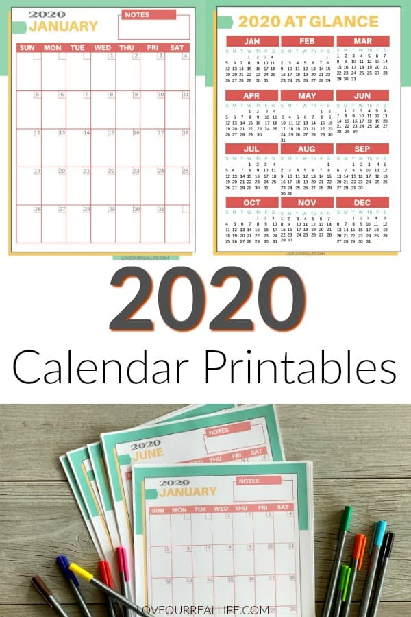 2020 calendar printables collage