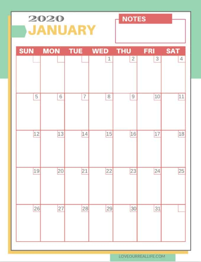 picture about Calendars Free Printable known as No cost Printable 2020 Calendars ⋆ Enjoy Our Legitimate Everyday living