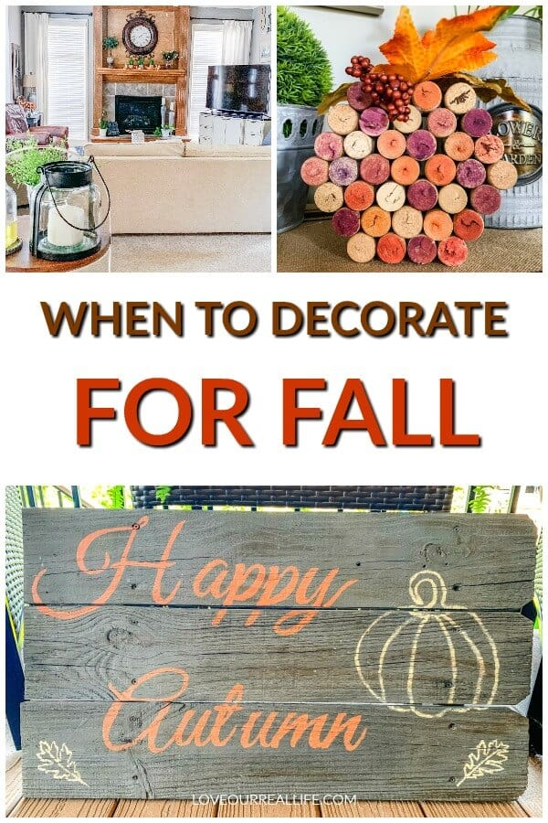 when to decorate for fall with collage of fall home decor