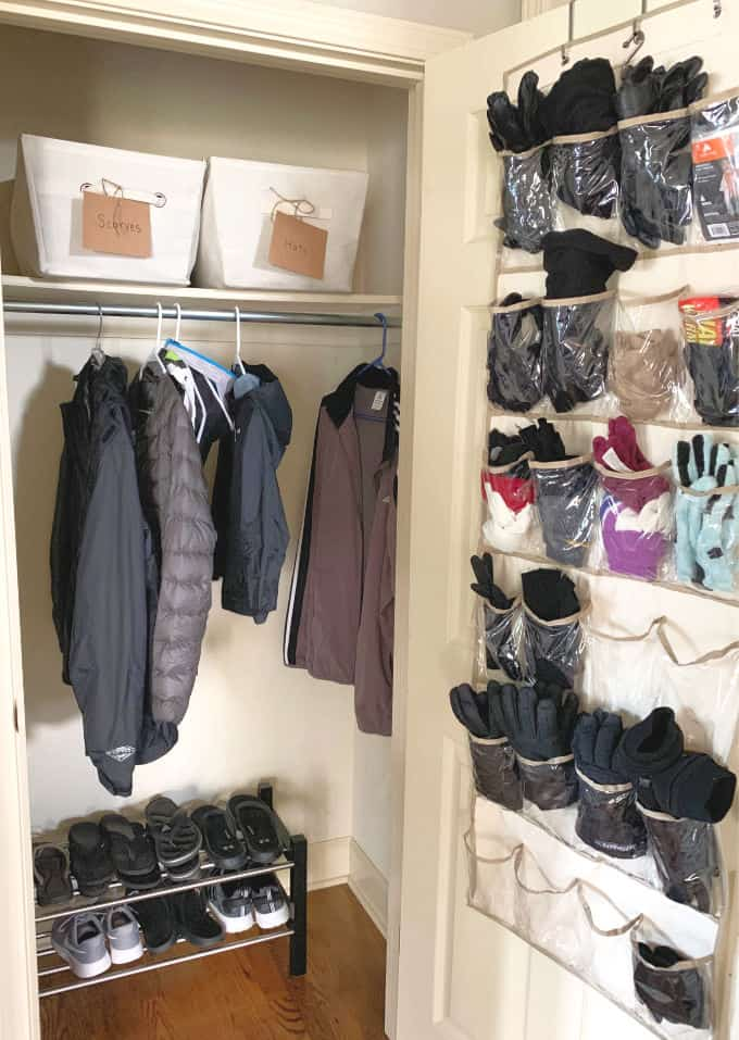 Entryway coat closet organization project