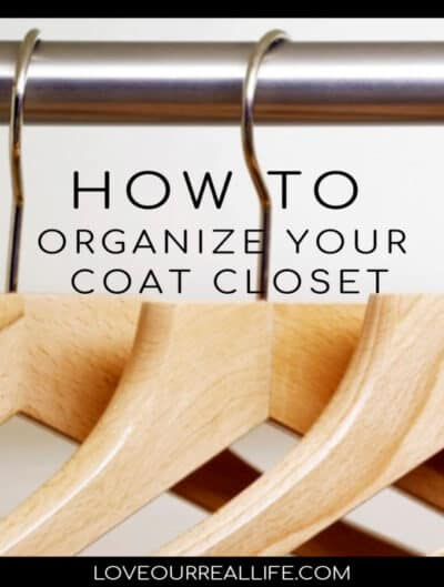 How to organize your coat closet text overlay coat hangers