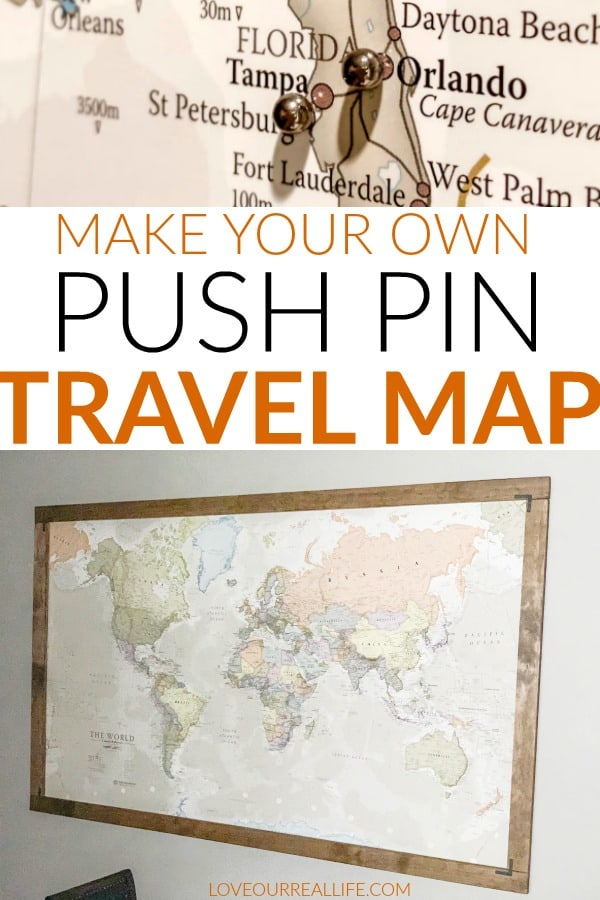 Make your own push pin travel map
