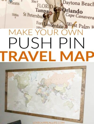 Collage of push pin travel map framed