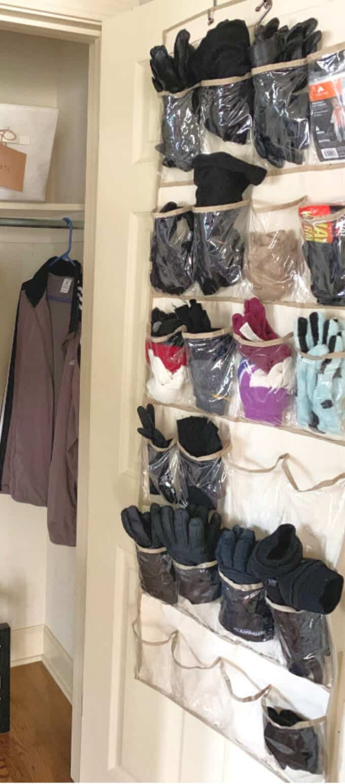 over the door shoe organizer to sort gloves and hats