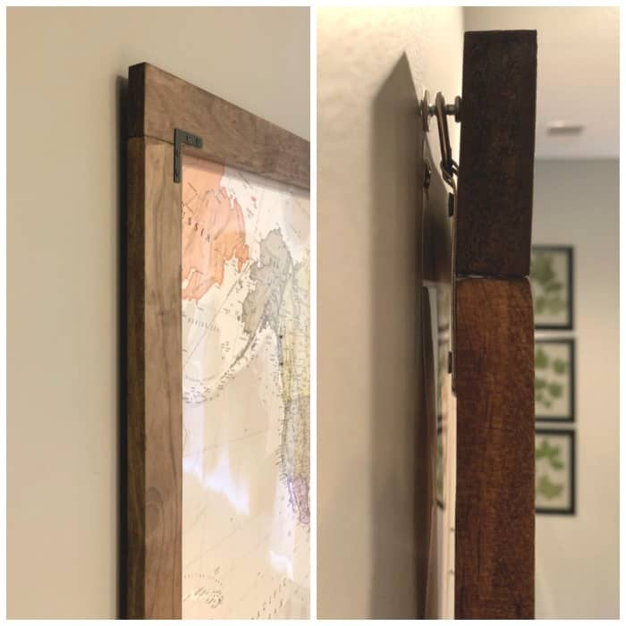 Map frame hanging on wall