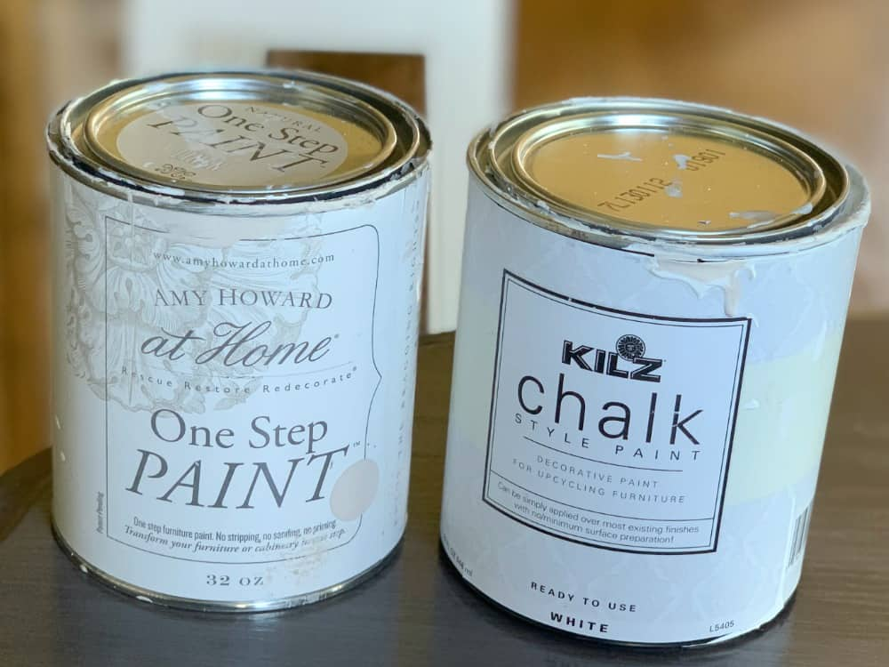 Amy Howard chalk paint in Linen and Kilz chalk style paint in white