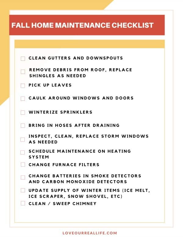 Printable fall home maintenance checklist pdf