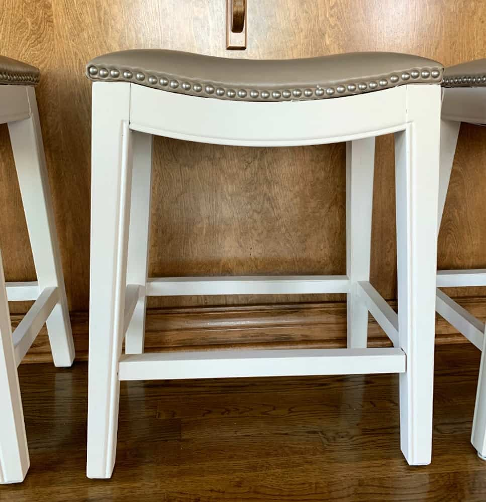 Hand painted white wooden bar stool
