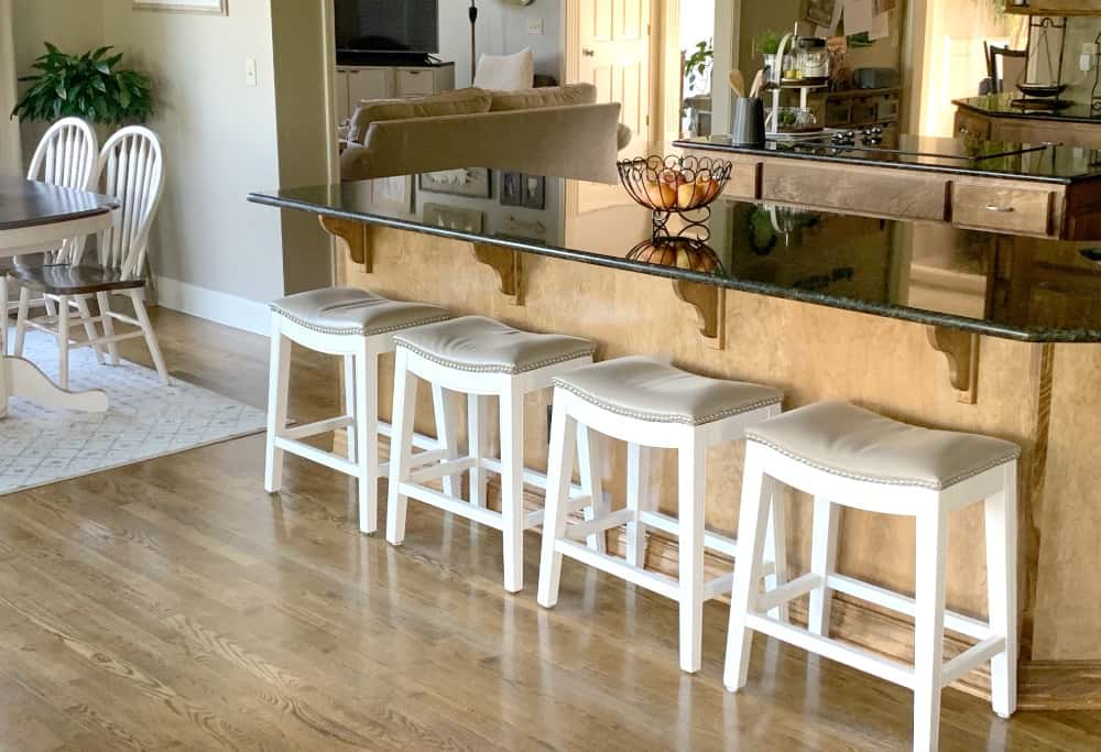 white bar stools in kitchen