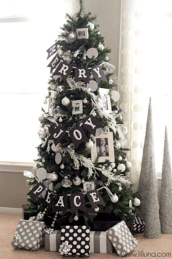 Black, white, and silver Christmas ornaments